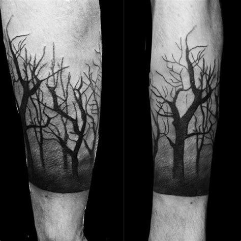 dark forest shaded mens trees tattoo on forearm honda