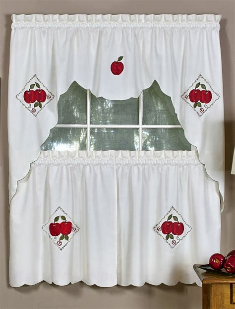 apple kitchen curtains delicious apple curtains swag tier set complete