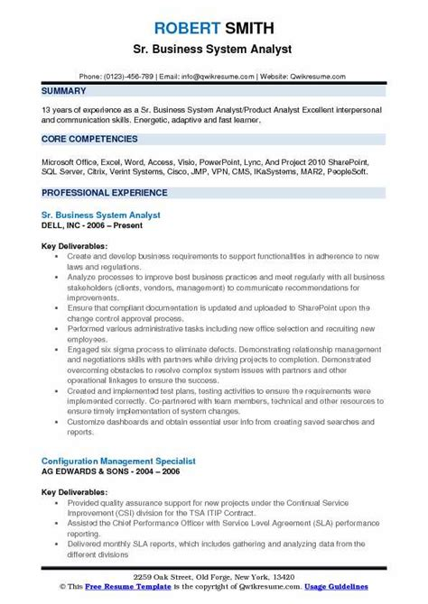 Business Systems Analyst Resume by Business System Analyst Resume Sles Qwikresume