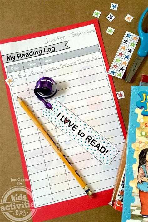 printable bookmark reading log printable bookmark and reading log activities