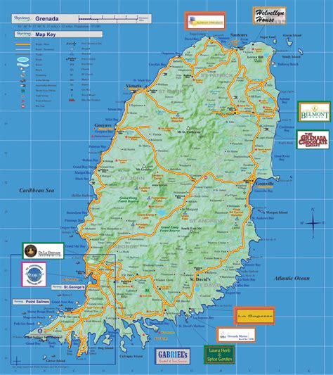 map of grenada island grenada island road map