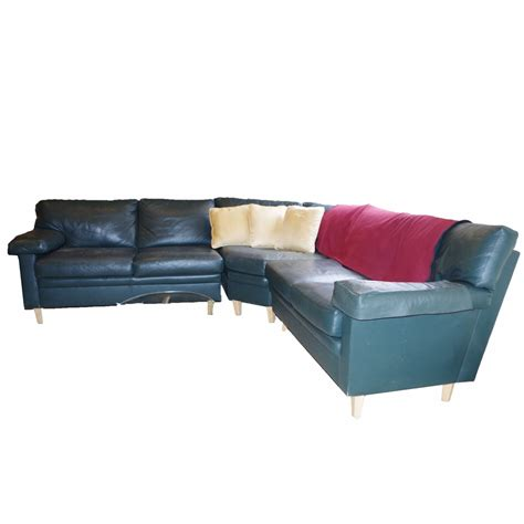 green leather sectional sofa rust belt revival online auctions dark blue green