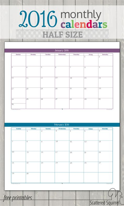 free printable planner half size update half size 2016 monthly calendars