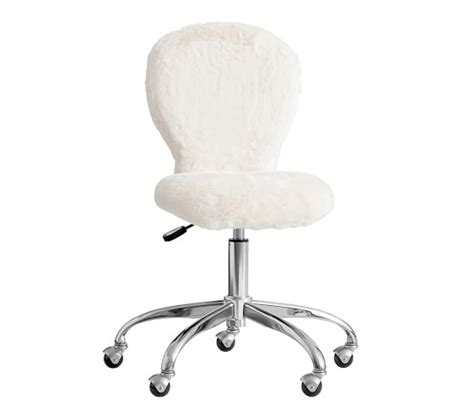 white fuzzy desk chair upholstered desk chair brushed nickel base