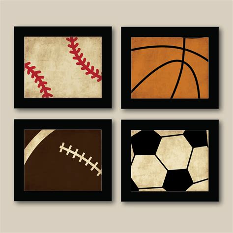 wall decor for boys set of 4 vintage sports prints baseball football by