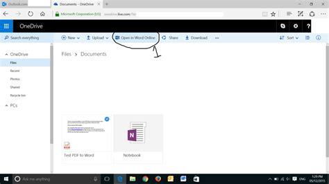 convert pdf to word via online convert pdf to word using onedrive
