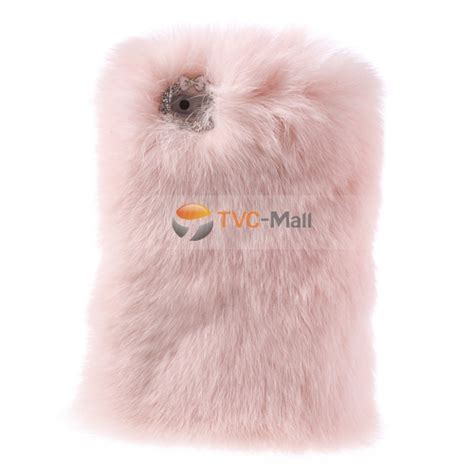 pink stylish genuine rabbit fur for iphone se 5s