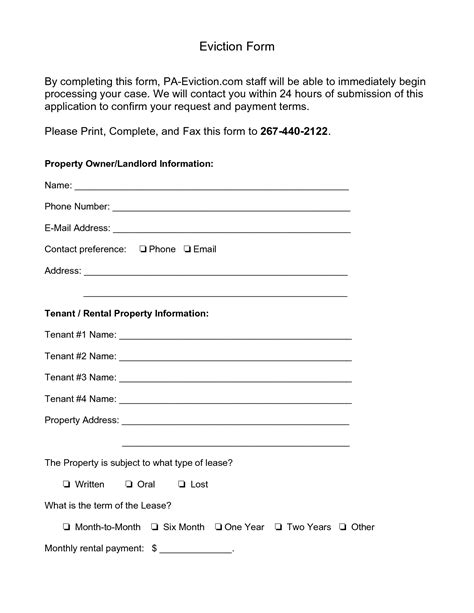 printable eviction notice pa 10 best images of eviction notice form 30 day eviction