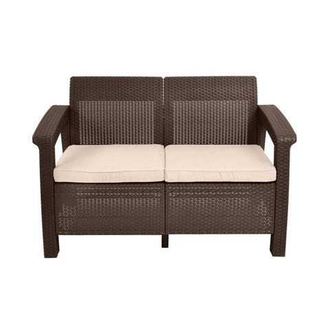 outdoor loveseat keter corfu brown all weather patio loveseat with tan