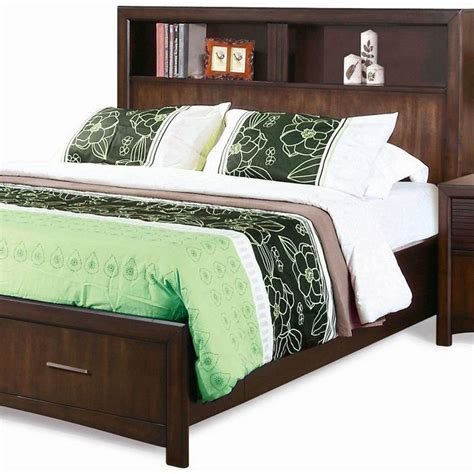 queen storage bed with bookcase headboard edison queen storage bed bookcase headboard java oak