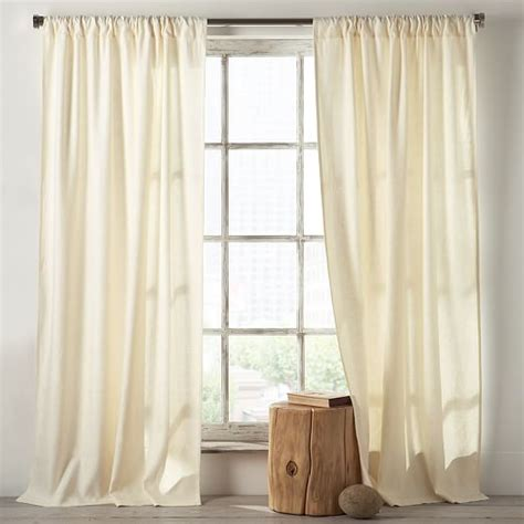 ivory cotton curtains linen cotton curtain ivory west elm