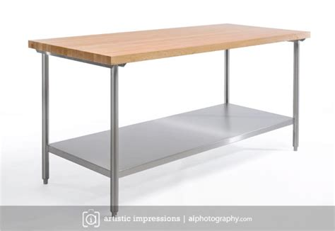 stainless steel butcher block table stainless steel product photography