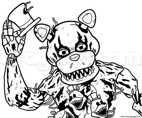 Fnaf 4 Coloring Pages by Draw Nightmare Freddy Fazbear Fnaf Coloring Pages Printable
