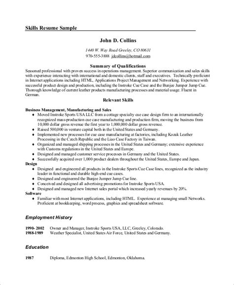 Resume Skills Of A Manager Exle Of Resume 9 Sles In Word Pdf