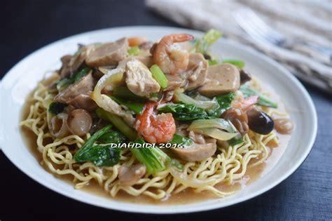 mie siram jamur sayuran makan malam masakan asia