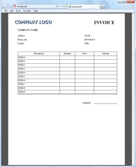 how to create pdf invoice with table and logo using