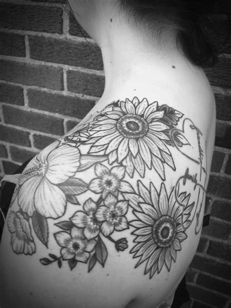 tattoo flower tattoos line work black and gray dot