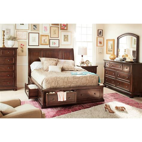 7 piece bedroom set hanover 7 piece queen storage bedroom set cherry value