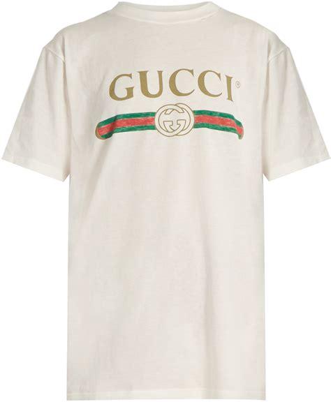 Gucci Top gucci logo print cotton t shirt shopstyle