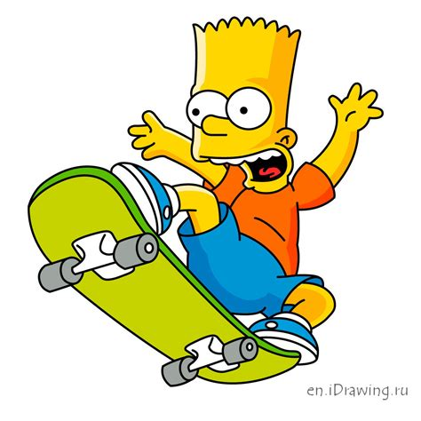 bart simpson how to draw bart simpson on a skateboard
