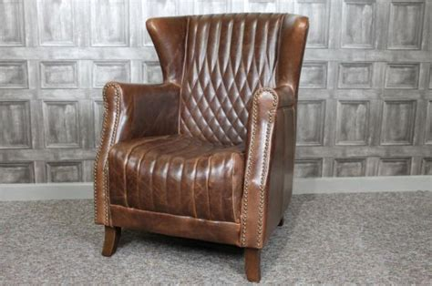 retro leather armchair vintage style leather armchair in brown leather with stud work