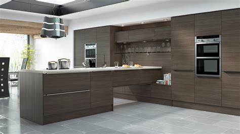 brown and blue contemporary kitchen with large kitchen island this contemporary kitchen s large linear brown grey avola our kitchens mackintosh kitchens