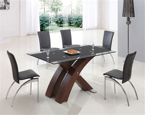 Imported Dining Table Xanta Walnut Glass Table
