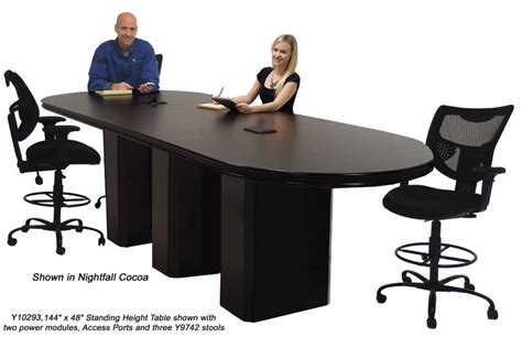 Standing Meeting Table Custom Standing Height Conference Tables With Pedestal Bases
