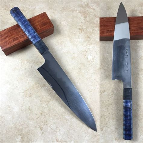 custom japanese kitchen knives mizuno 210mm blue 2 honyaki 210mm gyuto with black and