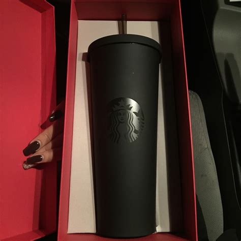Starbucks Tumbler Black Mate Cold Cup Stainless Steel Logo 96 starbucks accessories matte black starbucks tumbler cold cup from bizzy s closet on