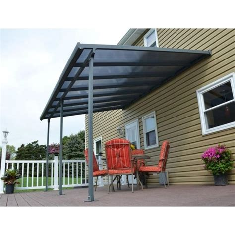 house patio awnings feria 10 ft x 14 ft grey patio cover awning home depot