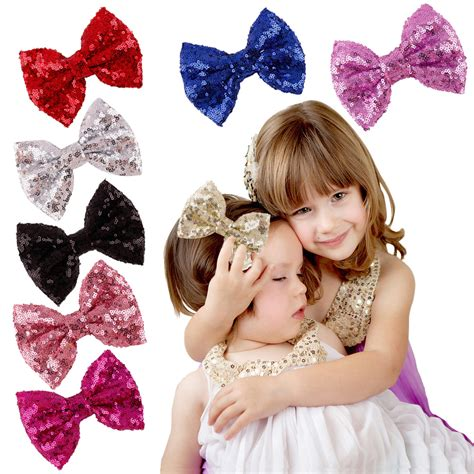 shiny hair accessories children baby beautiful baby big glitter shiny sequined bow bowknot hair