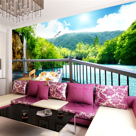 living room wall murals custom made green lake photo 3d wallpaper 3d wall murals