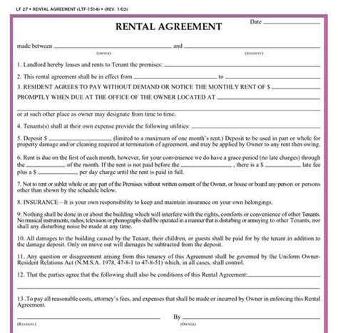 printable lease agreement new mexico printable residential lease agreement form click here to