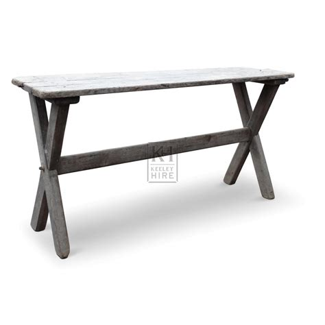 Narrow Wooden Table by Prop Hire 187 Tables 187 Narrow Wooden Table With X Legs Keeley Hire
