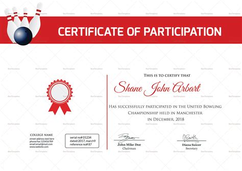 bowling certificate template bowling certificate design template in psd word