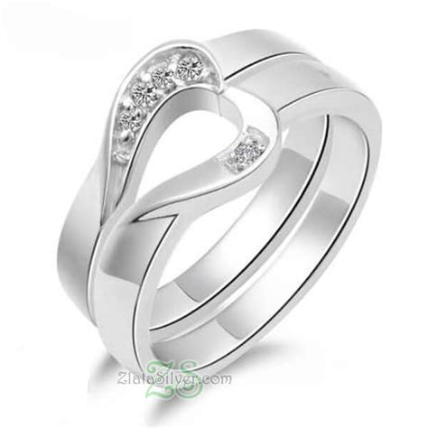 Cincin Kawin Cincin Tunangan Pernikahan Silver Lapis Emas Kombinasi cincin kawin piurity zlata silver