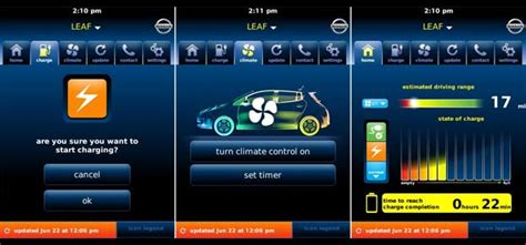 nissan apps nissan leaf gets blackberry android apps