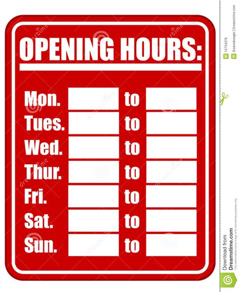 Opening Hours Sign Eps Stock Vector Illustration Of Isolated 15734378 Hours Template