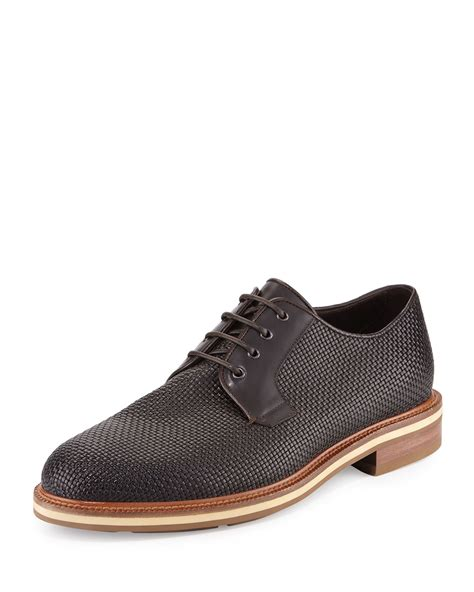 zegna shoes ermenegildo zegna woven leather derby shoe in brown for