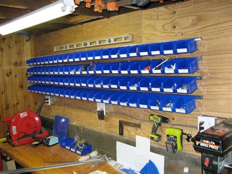 Garage Parts Storage Ideas Easy Wall Mounted Storage Bins For Hardware Parts Wall