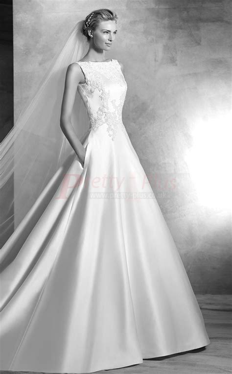 2017 style chapel train low back boat neck ball gown - Boat Neck Ball Gown Wedding Dress