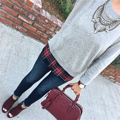 Sweater Leather Patch Maroon Plaid grey plaid sweater ankle burgundy peep toe booties burgundy thea satchel
