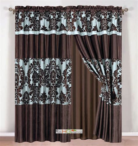 blue brown curtains 4 silky satin flocking damask floral stripe curtain set