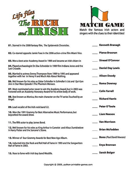 film quotes pub quiz saint patrick day games activities for st paddy s party