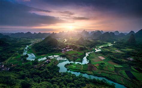 wallpaper sunlight landscape forest sunset china