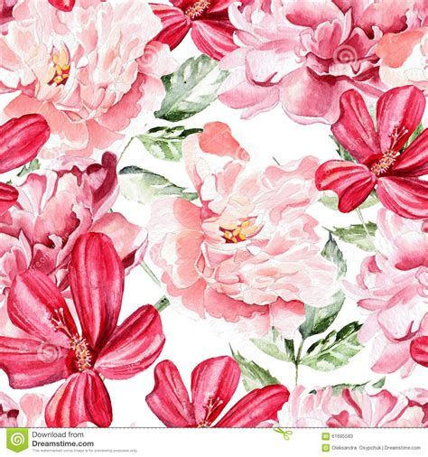 watercolor roses pattern seamless pattern with watercolor flowers peonies stock