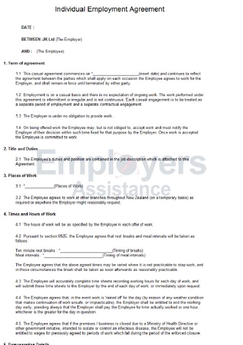 casual employment contract agreement employers assistance nz