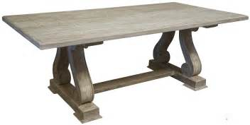 old and vintage trestle dining table made from reclaimed wood with carving legs painted with
