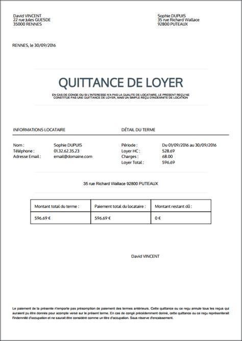 Modele De Quittance De Loyer A Imprimer Gratuitement cr 233 er et imprimer une quittance de loyer au format pdf